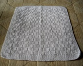 White Hand-knitted Baby Blanket (Aran Wool 23 1/2 x 21 1/2in / 59 x 54cm)