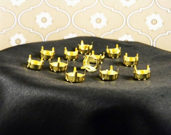 12 Gold Plated 50ss/12mm Rivoli Round Settings