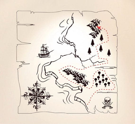Pirate Treasure Map Removable Wall Decal FREE SHIPPING