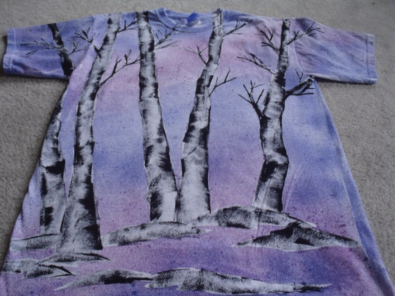 Aspen trees in blues, and lavenders, moon light on a cold winter's night, man's large t-shirt, fabric spray paint, design on both sides