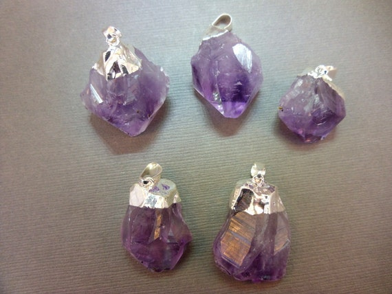 Amethyst Point Pendant - Raw Amethyst with silver electroplated cap BEAUTIFUL (S122B6)