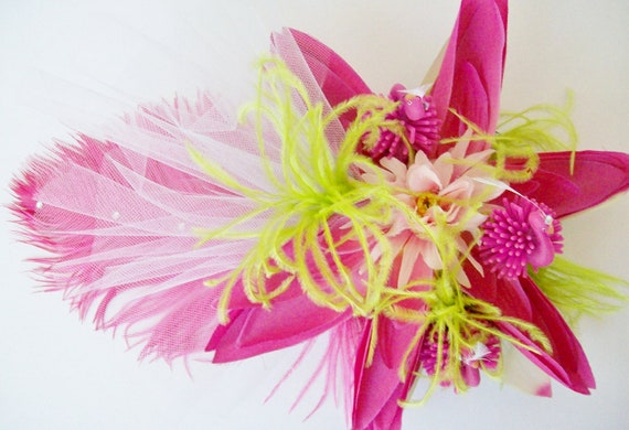 Pink Flamingo Feather Fascinator