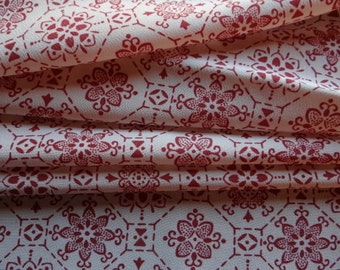 Raspberry and cream patterned Japanese silk