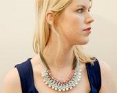 necklace white beads mint grey jersey rose yarn