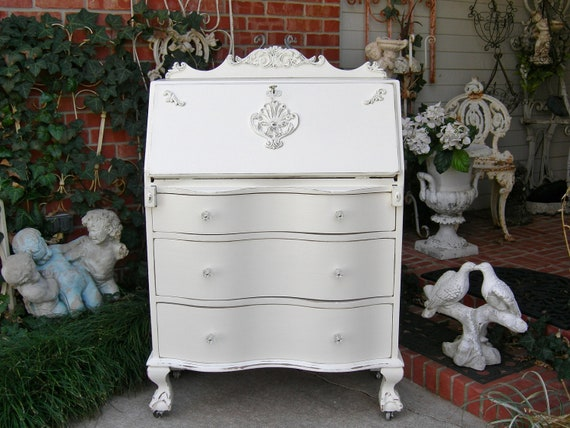 Antique Dresser Desk For Writing, Lap tops or Makeup Vanity Shabby Chic French White