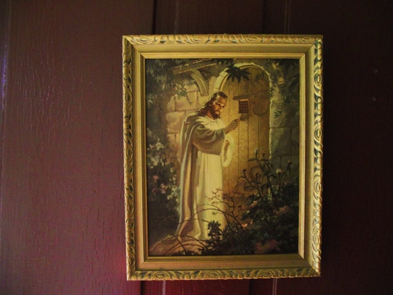 Vintage Religous Art Litho Christ Knocking At Heart S