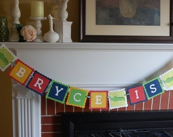 Alligator Birthday Banner, Name and Age Banner, Alligator 1st Birthday, Alligator Theme, Madras