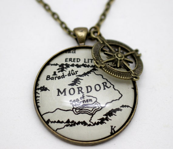 items similar to lord of the rings map mordor necklace