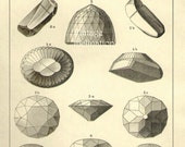 Vintage Print FAMOUS DIAMONDS Chart X vintage precious gem stones illustrations