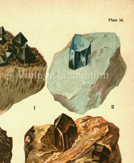 Vintage Print MINERALS CHART Plate 14,  magnetite, corundum, zircon, limonite, vintage precious gem stones illustrations
