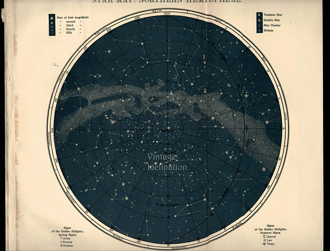 1923 BEAUTIFUL Teal Coloured Vintage Star Chart NORTHERN