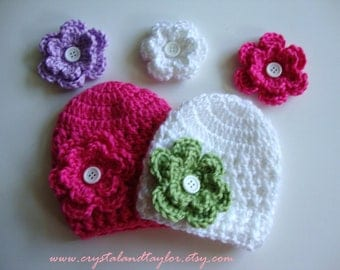 Crochet Baby Hats (Set of Two)  with 5 Interchangeable Flowers, Newborn and Baby Sizes Available, Newborn Hats
