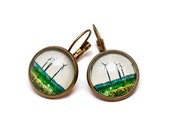 Wind catchers, Photo earrings, vintage, ecology, gift box
