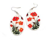 Poppies, Polymer clay earrings.