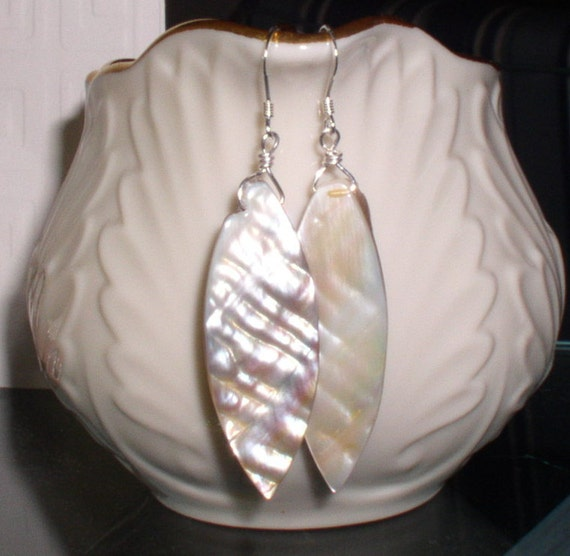 RESERVED Sea Shell Earrings with sterling silver ear wires