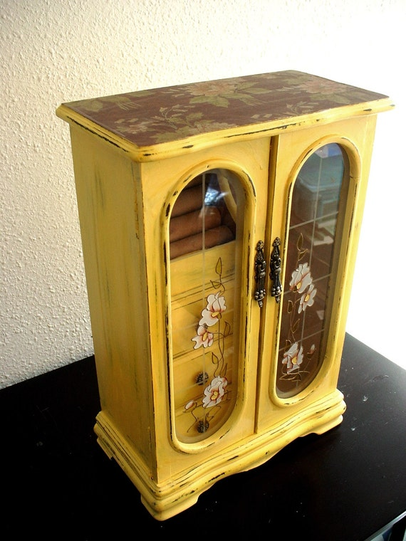 Cottage Yellow Flora Wooden Jewelry Box