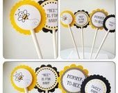 24 Bumble Bee Baby Shower Cupcake Cake Food Toppers (White Sticks)