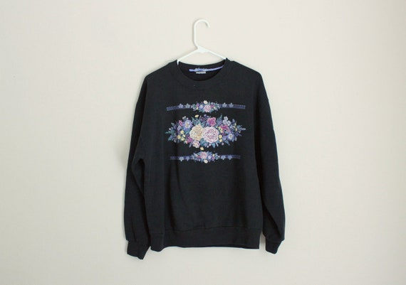 RESERVED    1980s Floral Glittery Pullover