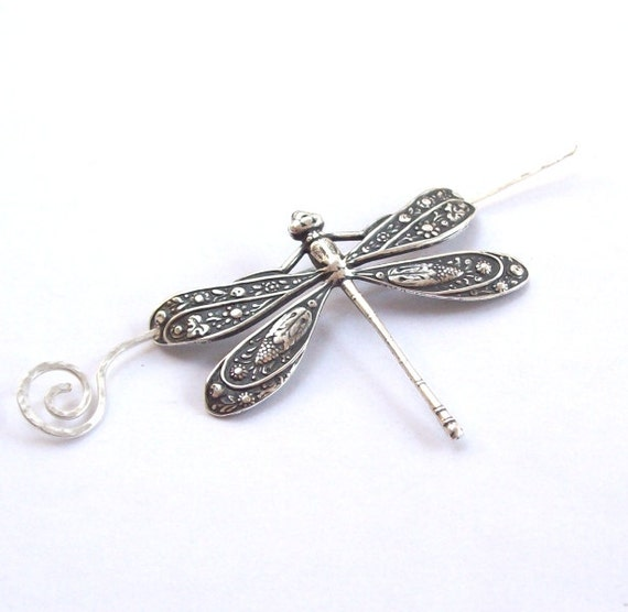 Silver Dragonfly Shawl Pin, Dragonfly Scarf Pin, Silver Shawl Pin, sweater pin, hair slide, bug,  barrette, silver filled, fall fashion
