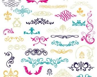 40 Digital Colored Flourishes - Commercial Use - Blue Pink Orange Beige - 40 Pieces - PNG Files - flourishesset017