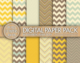 Chevron Digital Paper Pack - Yellow Brown Blue Beige - Chevron Zig Zag Lines - Commercial Use - 12366