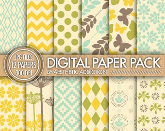 Green Blue Brown Yellow Digital Paper for Personal or Commercial Use Digital Collage Sheets Background - 12 Sheets - 12226