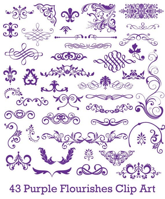 Digital Purple Flourishes for Scrapbooking Cards Commercial Use -  43 Pieces - PNG Files - set006