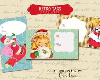 Retro Christmas Gift Tags Digital Collage Sheet -  INSTANT Printable Download