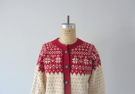 Vintage ski sweater wool cardigan christmas by bluefennel