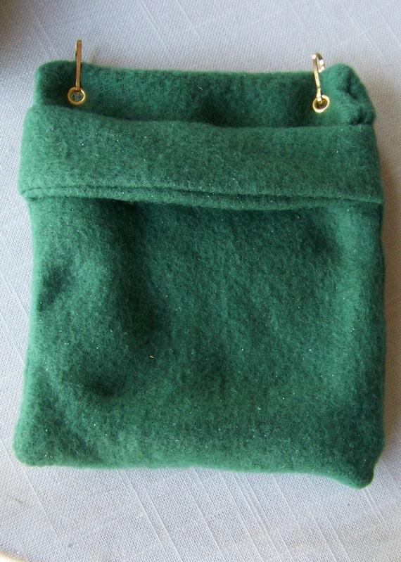 FLEECE BONDING POUCH for Small Pets - Green  Fleece - 5 x 6 inches