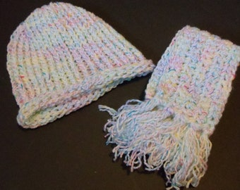 Knitted Childs Scarf Beanie Hat Crayons