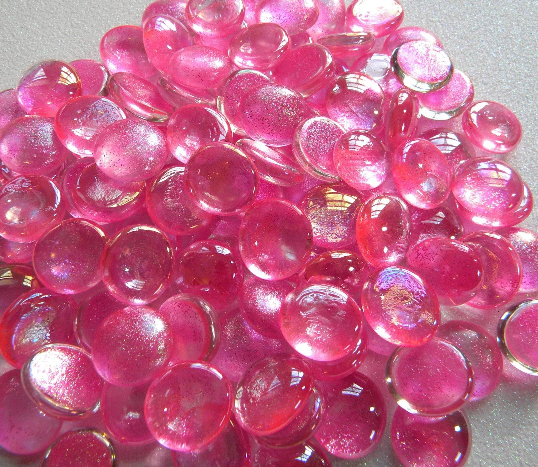 50 glass gems cabochons pink glitter custom mix