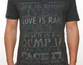 Limited Edition Recycled Vintage Double V Neck T, Life is Short