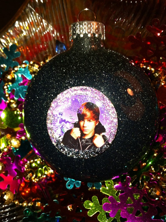 JUSTIN BIEBER Glass Glitter Resin Christmas Ornament ooak Holiday ...