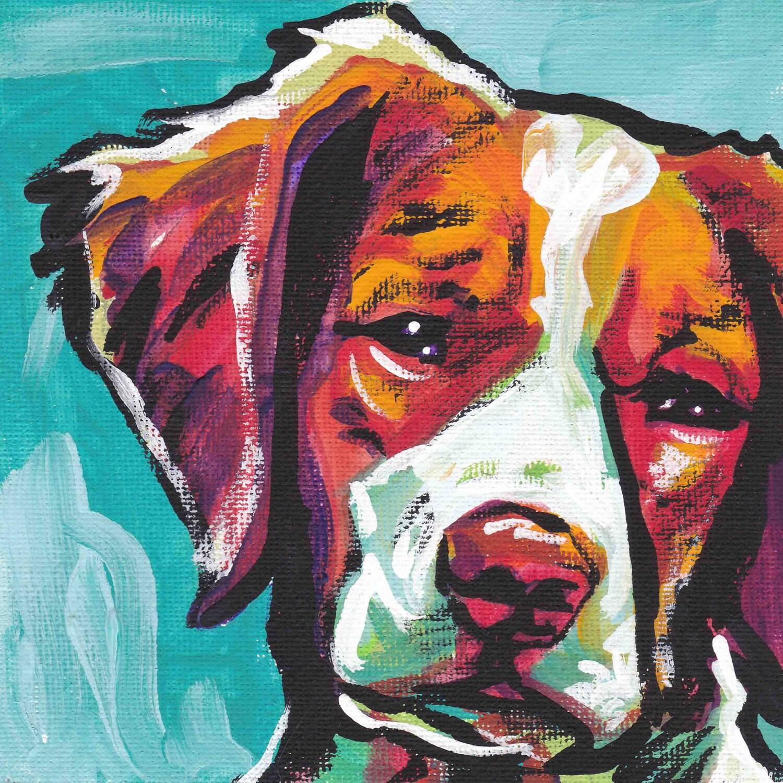 Brittany spaniel portrait art print modern dog pop art bright for Popular painting ideas