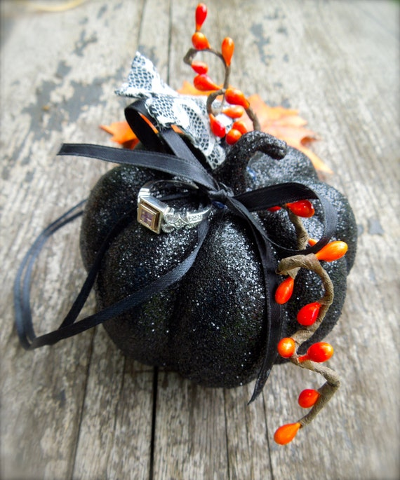 Fall Halloween Wedding Ring Bearer Pillow Alternative Pumpkin