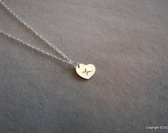 Tiny Sterling silver Hand stamped Heartbeat necklace