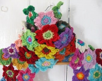 Scarf Crochet Pattern - Bright Blooms Flower Scarf - PDF crochet pattern