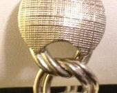 Vintage 70's Silvertone Round Textured Link Bracelet