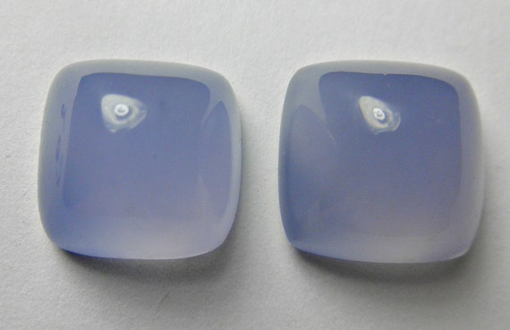 AAA Namibian blue chalcedony matched pair square pyramid cushion Designer cabs