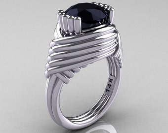 Modern Antique 14K White Gold 3.0 Carat Black Diamond Wedding Ring R211-14KWGBD