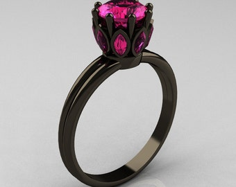 Classic 14K Black Gold Marquise 1.0 Carat Round Pink Sapphire Solitaire Ring R90-14KBGPS