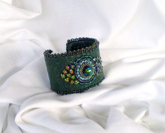 Bead Embroidery Bracelet Cuff  unique leather bracelet Teal Emerald geen Seed bead bracelet