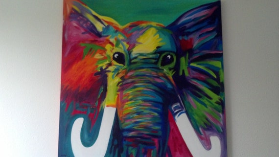 Abstract Elephant painting by brittanels on Etsy