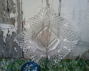 Vintage Clear Glass Candy Dish with Diamond Pattern, on SALE - Antique Kitchen + Dining Room Glassware, Serving Dishes, Decorative Dishes