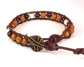 Gemstone Bracelet - Wrap Bracelet - Leather Cord - Button Clasp - Unisex