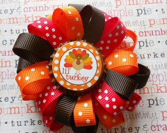 Lil Turkey loopy flower Thanksgiving hairbow