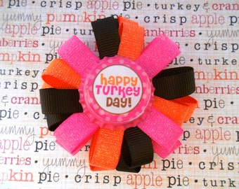 Happy Turkey Day pink and orange Thanksgiving loopy flower hair bow