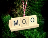 MOO Repurposed Wooden Scrabble Tile Rustic Farm Cow Christmas Holiday Tree Ornament