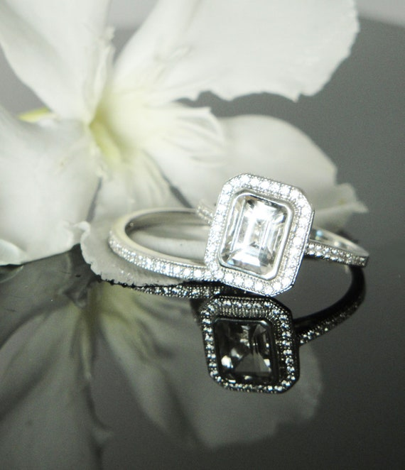Reserved First Payment Herkimer Diamond Ring Emerald Cut Sterling Silver Bezel Set with Matching Band